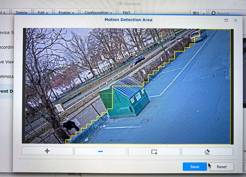 Home security cameras motion detection area